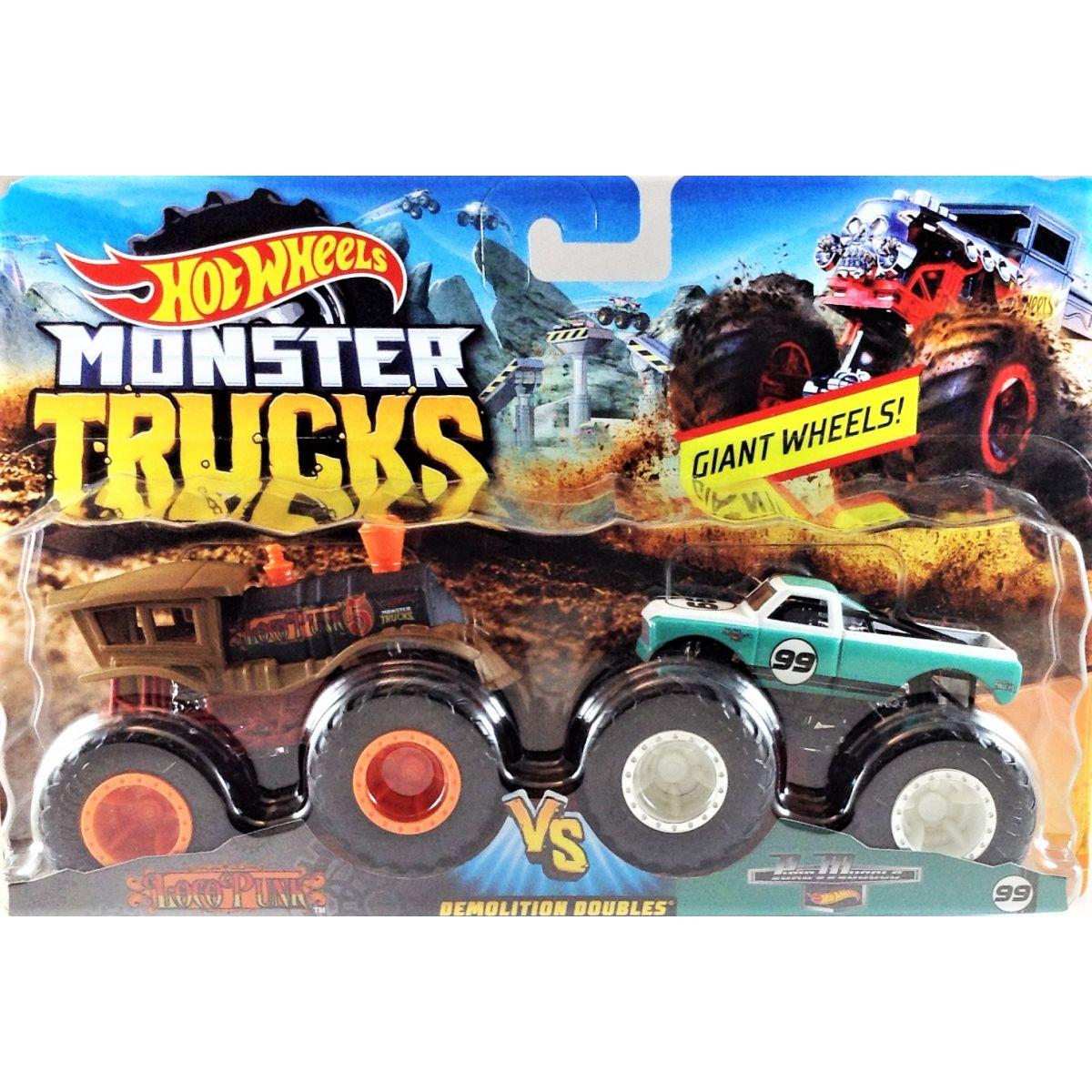 Mattel Hot Wheels Monster trucks demolačné duo LocoPunk VS Pure Musole FYJ66