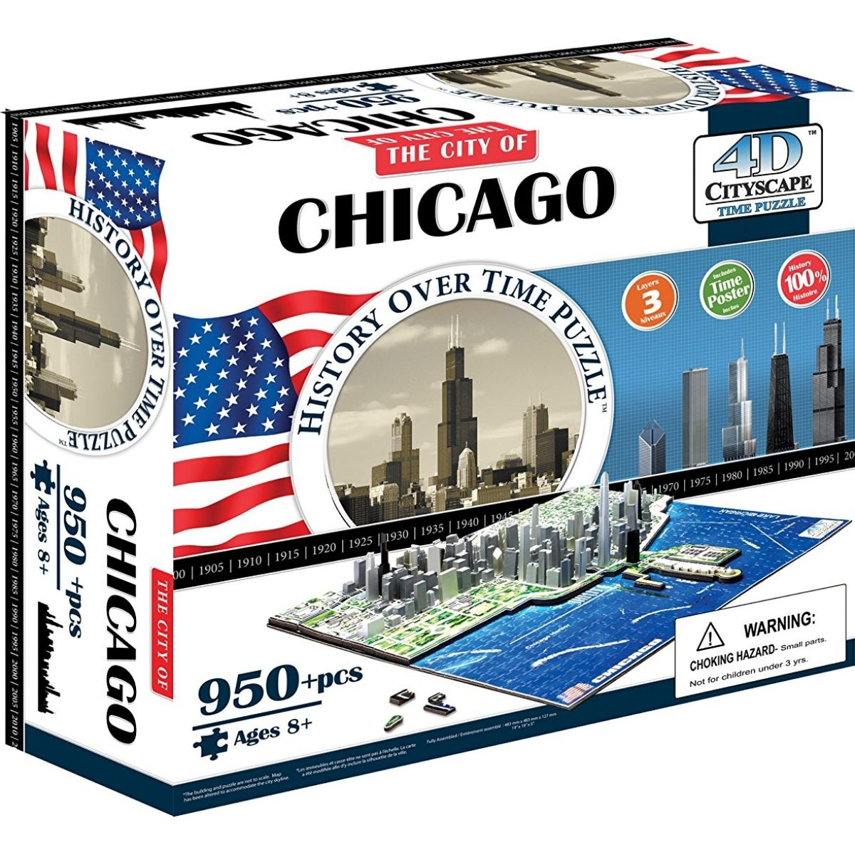 4D Cityscape puzzle Time Panorama Chicago