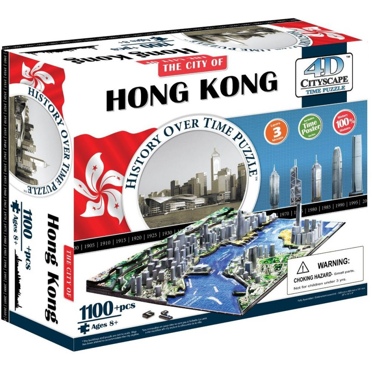 4D Cityscape puzzle Time panorama Hong Kong