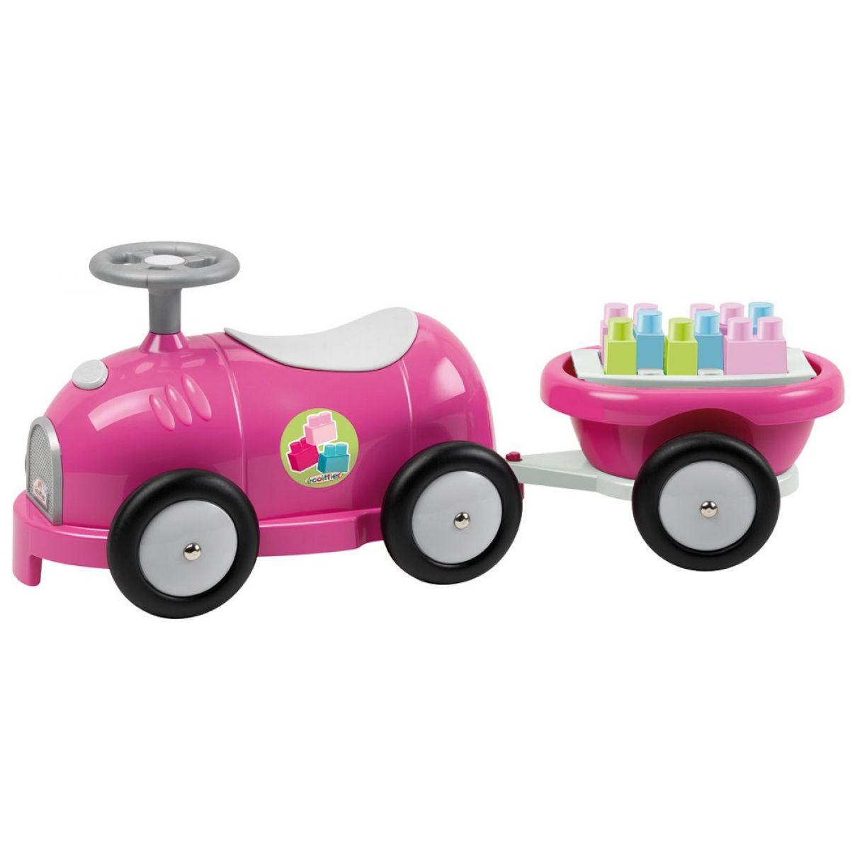 Abrick 7749 Maxi Odrážadlo ružové s vozíkom a kockami