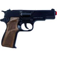 Alltoys Policajná pištoľ čierna kovová 8 rán