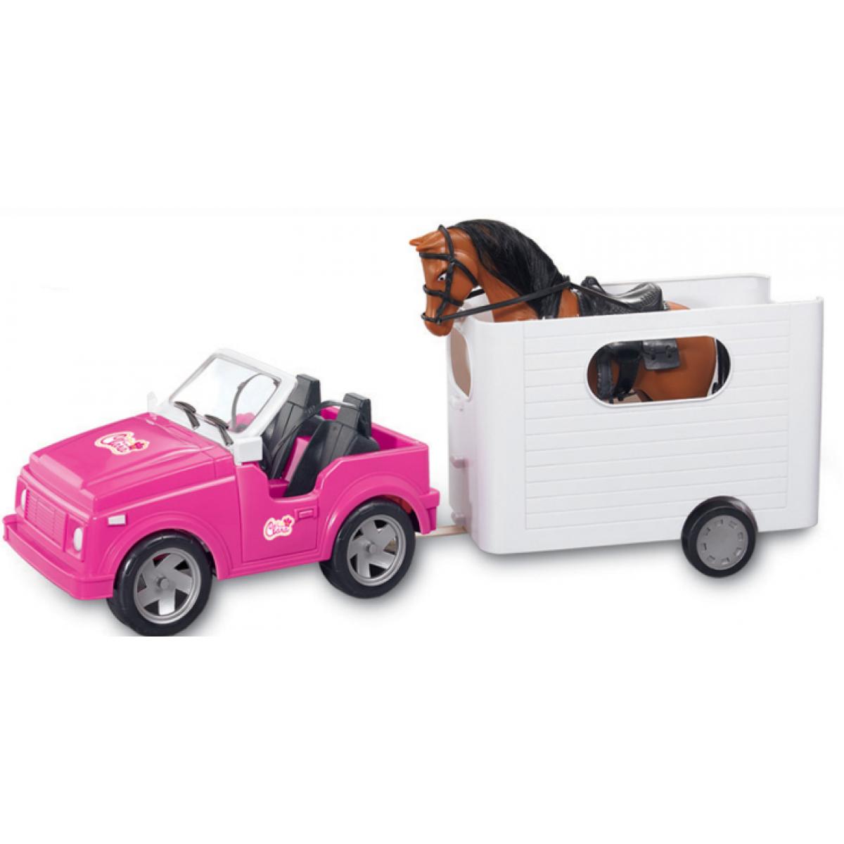 Auto pre bábiky s prívesom a koňom