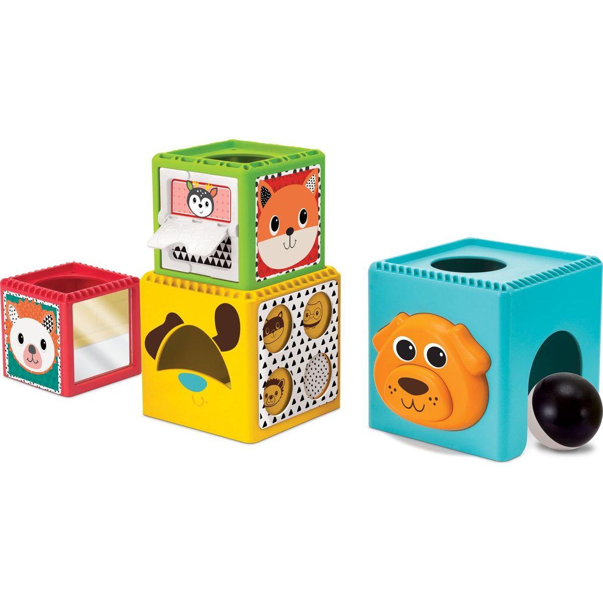 B kids Skladacie kocky Busy Baby Stackers modrá, oranžový psík