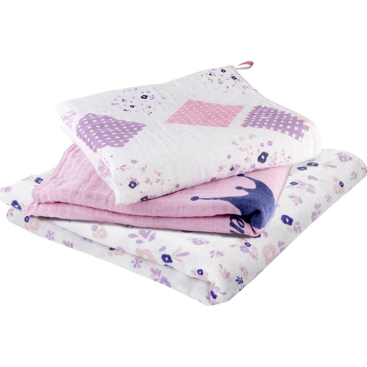 Babymoov mušelínové Mademoiselle Set 3ks biele/ružové/fialové