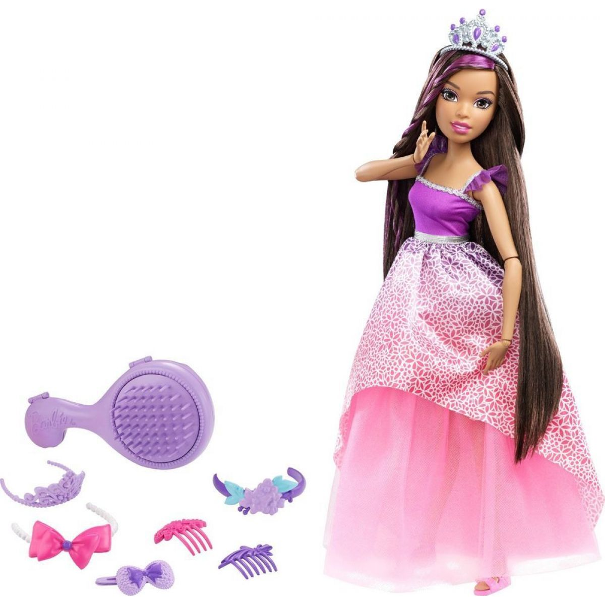 Barbie Vysoká princezná s dlhými vlasmi brunetka