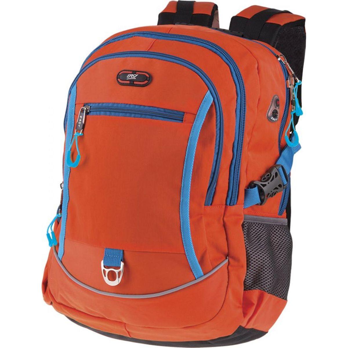 Easyoffice Batoh školský športový Oranžový s modrým lemom