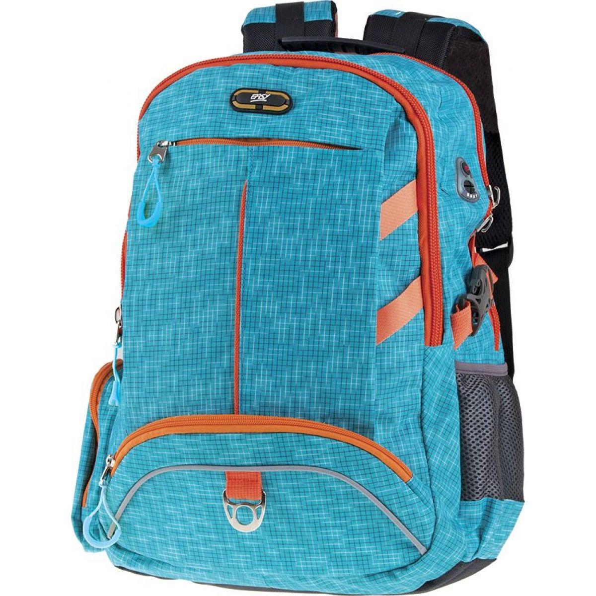 Easyoffice Batoh školský športový Modrý podklad s oranžovým lemom