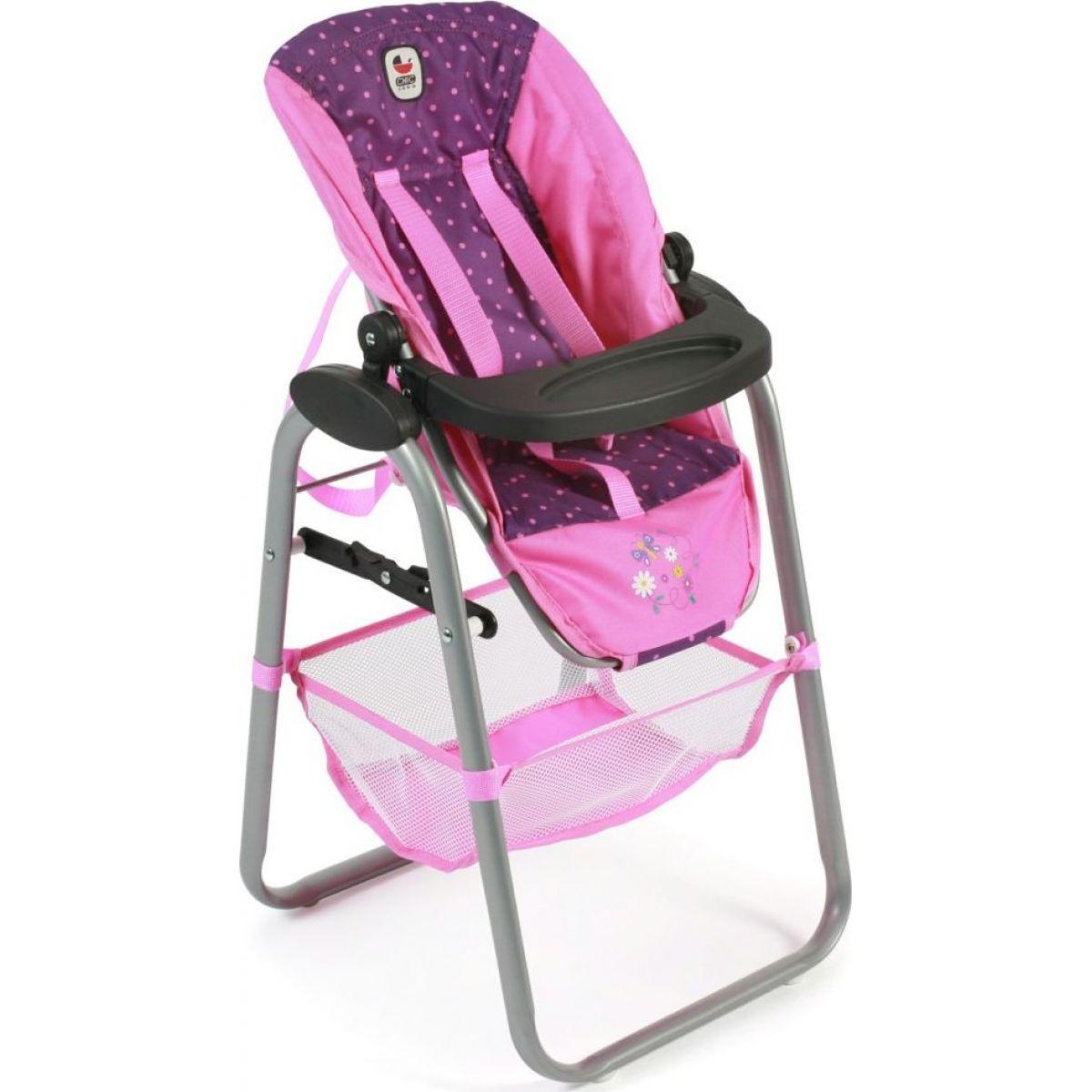 Bayer Chic Jídelní židlička pro panenku Dots Navy Pink