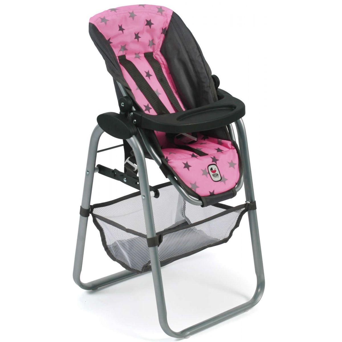 Bayer Chic Jídelní židlička pro panenku Hvězdičky šedivé