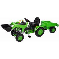 Rolly Toys Kid Šlapací traktor s nakladačom a vlečkou Zelený
