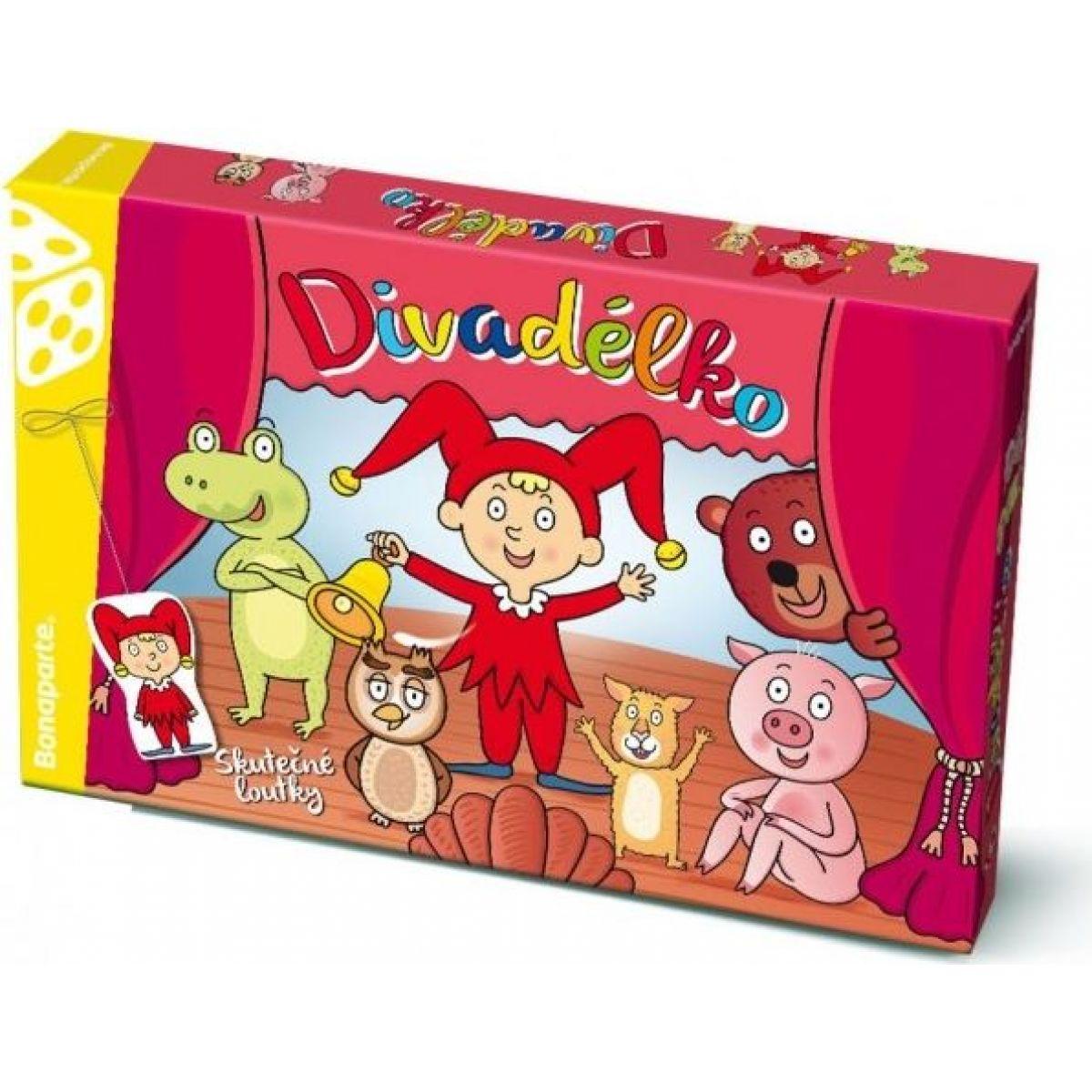 Bonaparte Divadielko papierové bábkové divadlo s oponou 6ks postavičiek v krabici 34x23x4cm