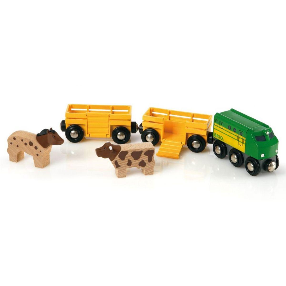 Poľnohospodársky vlak pre prepravu zvierat s 2 vagónikmi, kravou, koňom