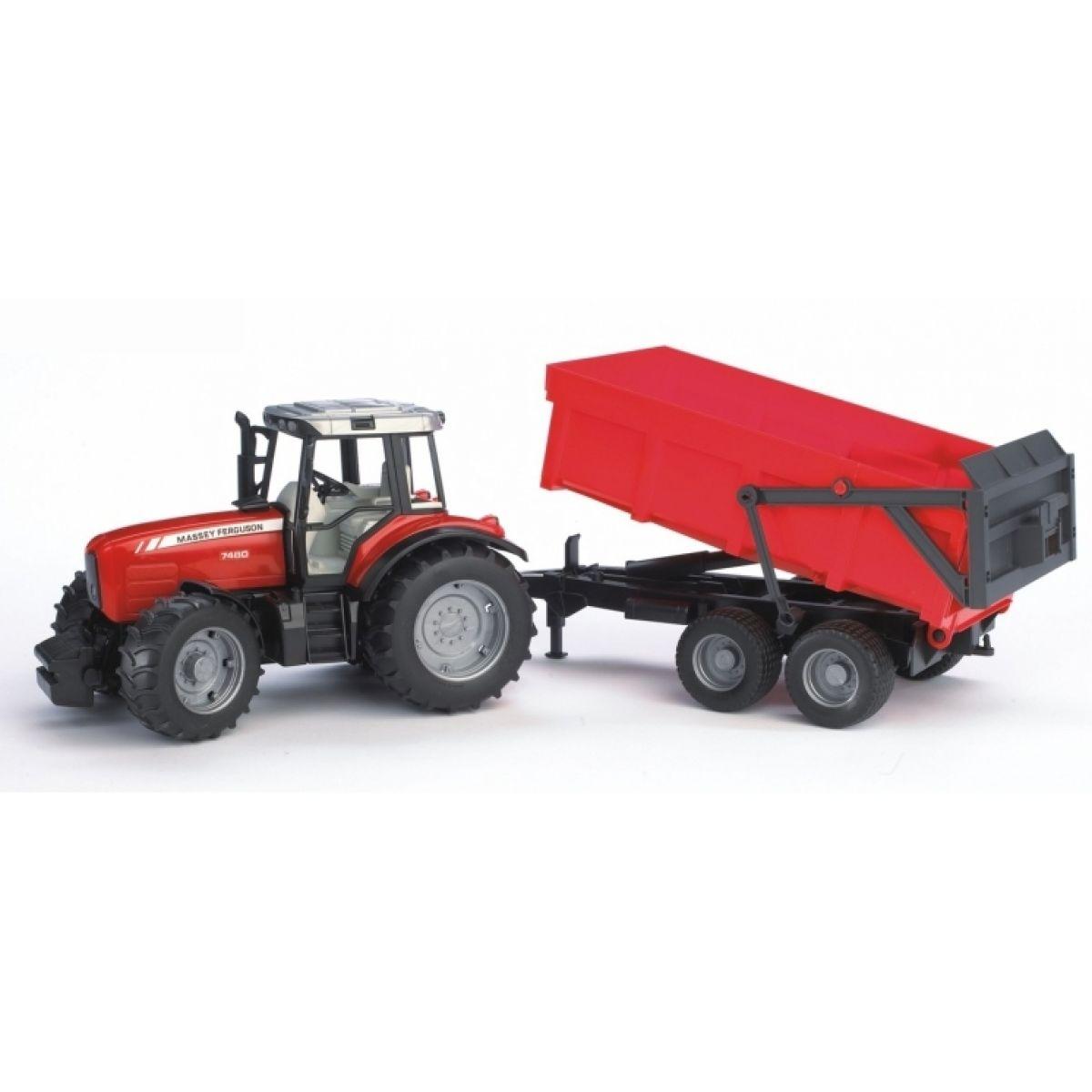 Bruder Traktor 2045 MASSEY FERGUSON + sklopné vozidlo červené