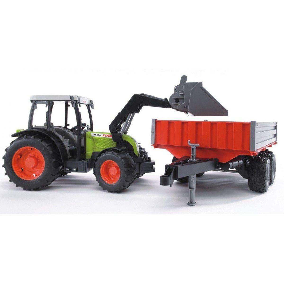 BRUDER 02112 Traktor CLAAS NECTIS s čelným nakladačom a vozom