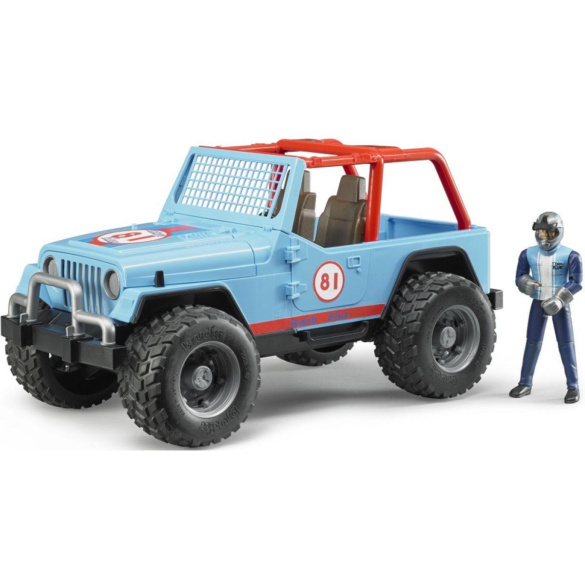 Bruder 2541 Jeep Wrangler Cross Country modrý s figúrkou jazdca
