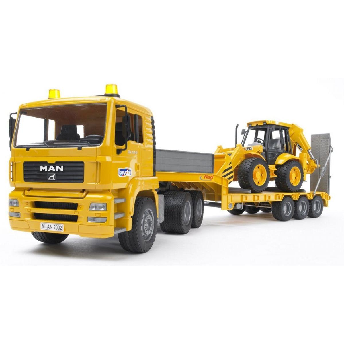 Bruder 02776 Nákladné auto MAN náves + traktor JCB
