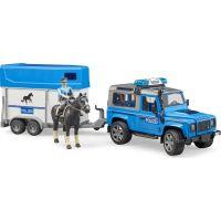 Bruder 2588 Land Rover Defender Policejní s přívěsem, koněm a policistou