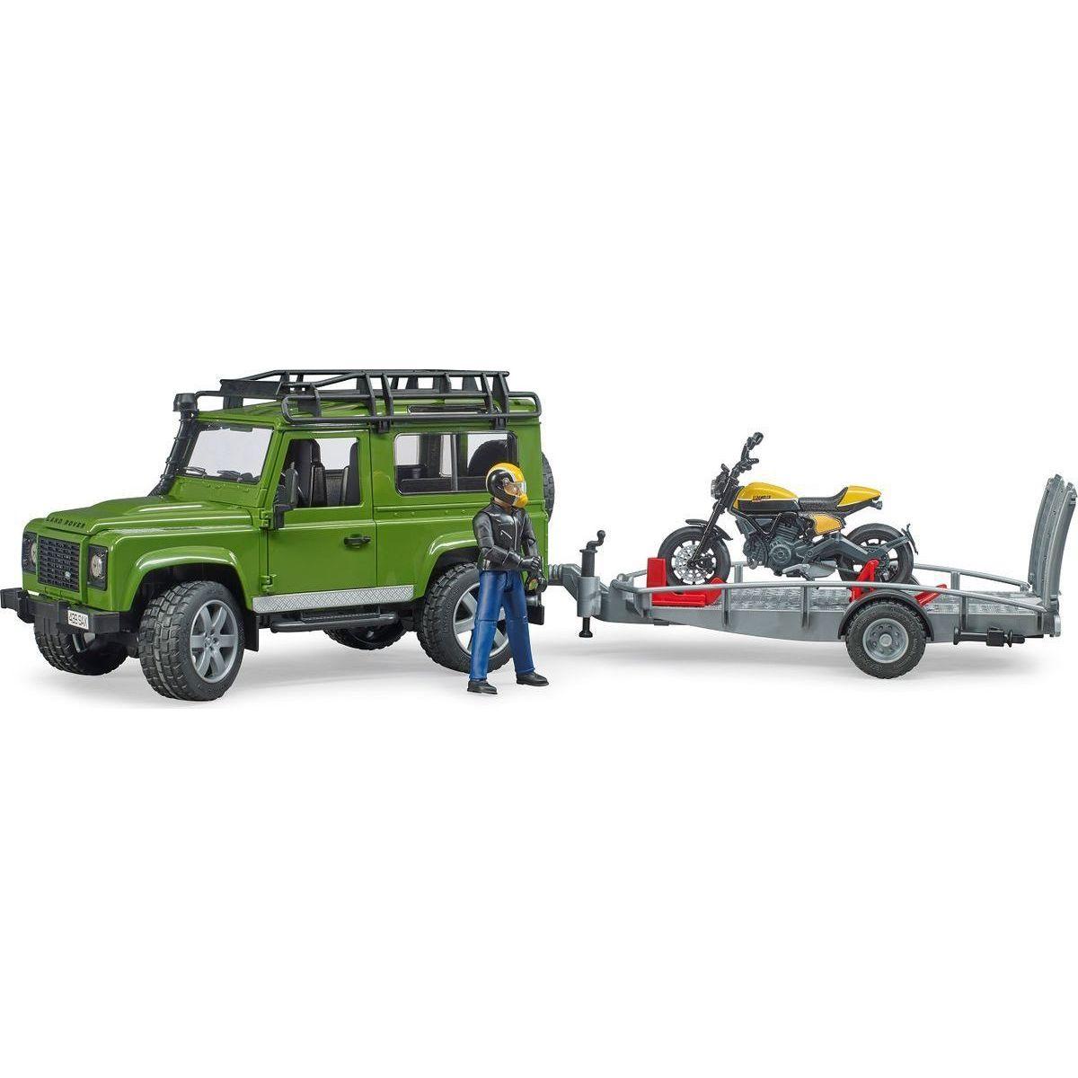 Bruder 2589 Land Rover defender s podvalníkom a motorkou Ducati