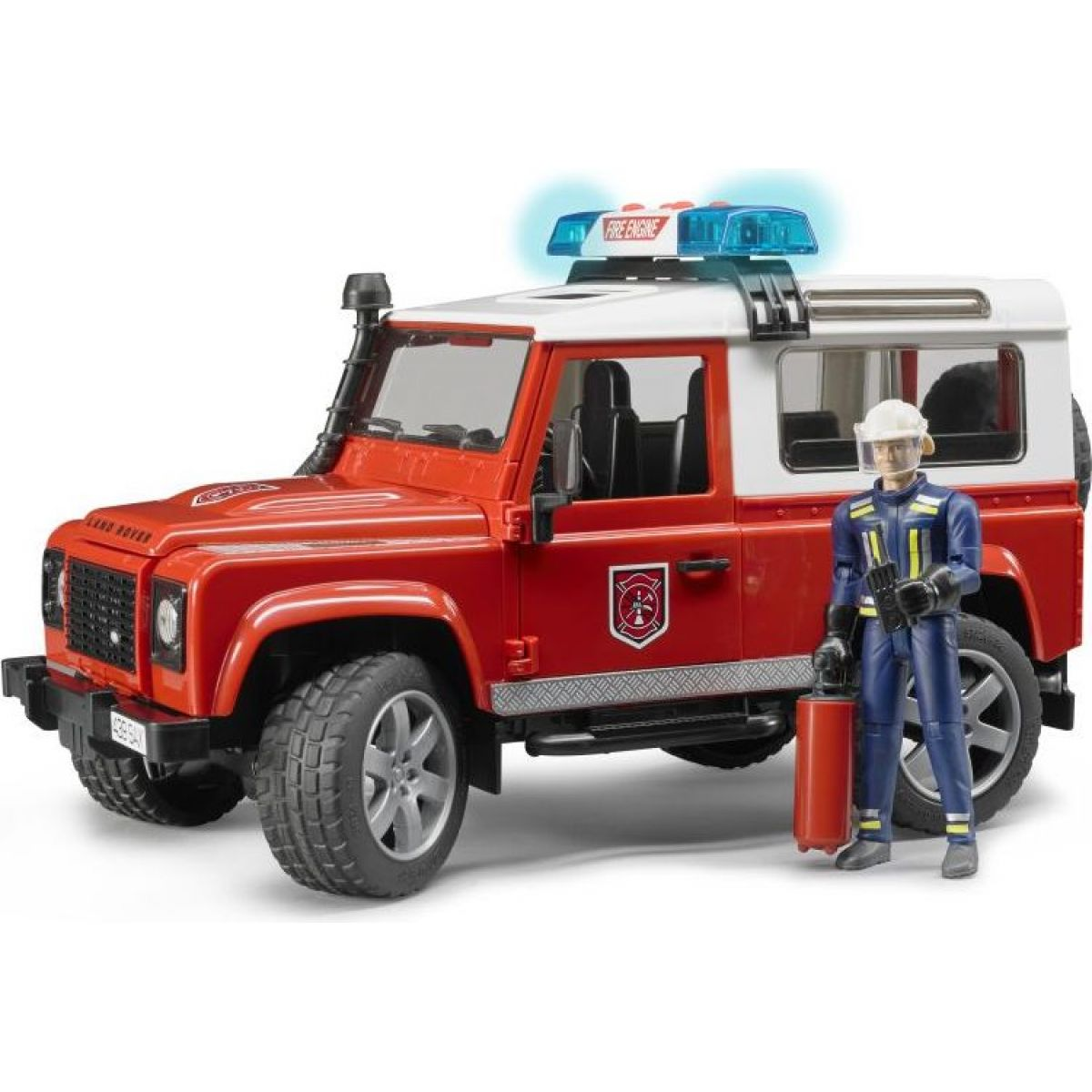 Bruder 2596 Land Rover Defender - Hasičské auto s figurkou hasiče