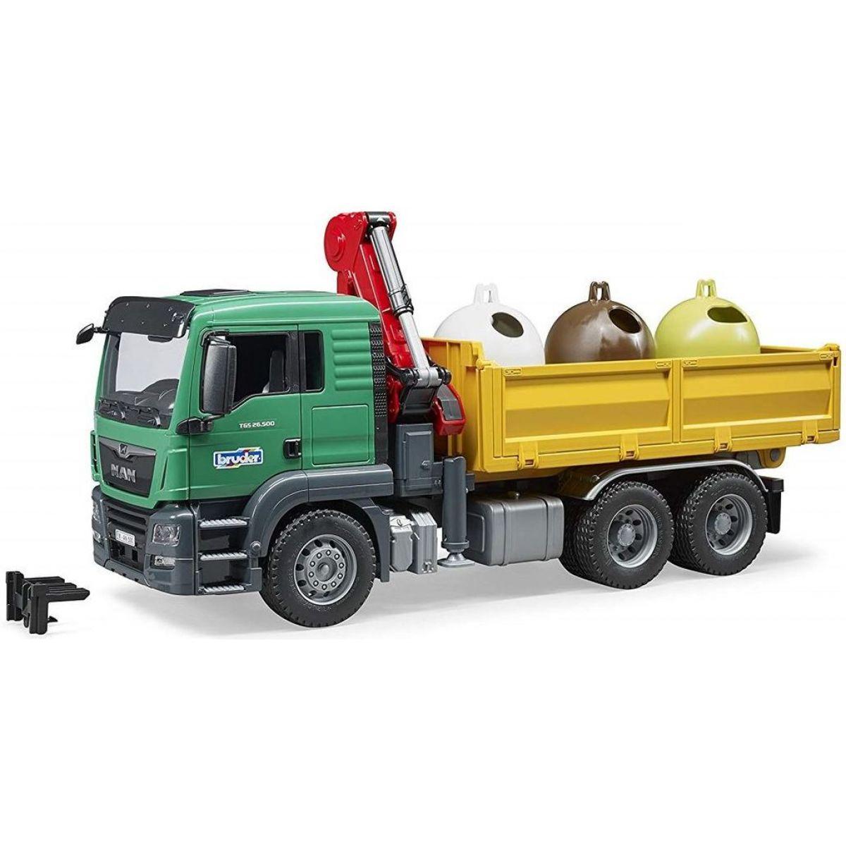 Bruder 3753 MAN TGS Truck sa 3 kontajnery na odpad a nakladacím ramenom