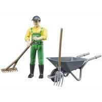 Bruder 62610 Bworld Figurka Poľnohospodár s kolieskom a náradím
