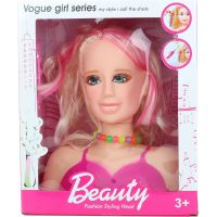 Česací hlava blondýna růžové pramínky
