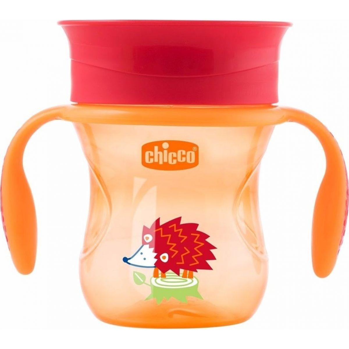 Chicco Hrnček 360 s držadlami 200 ml oranžový
