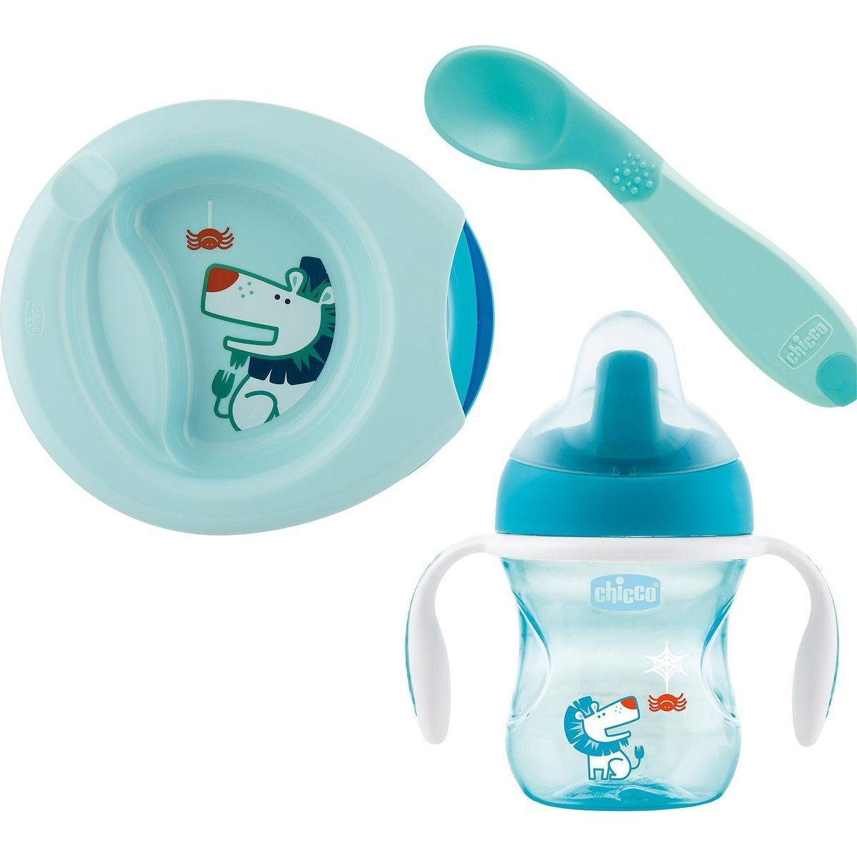 Chicco Jedálenský set tanier, lyžička a hrnček modrý