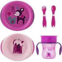 Chicco Jedálenský set tanier, príbor a hrnček ružový 2
