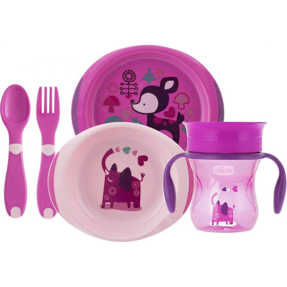 Chicco Jedálenský set tanier, príbor a hrnček ružový