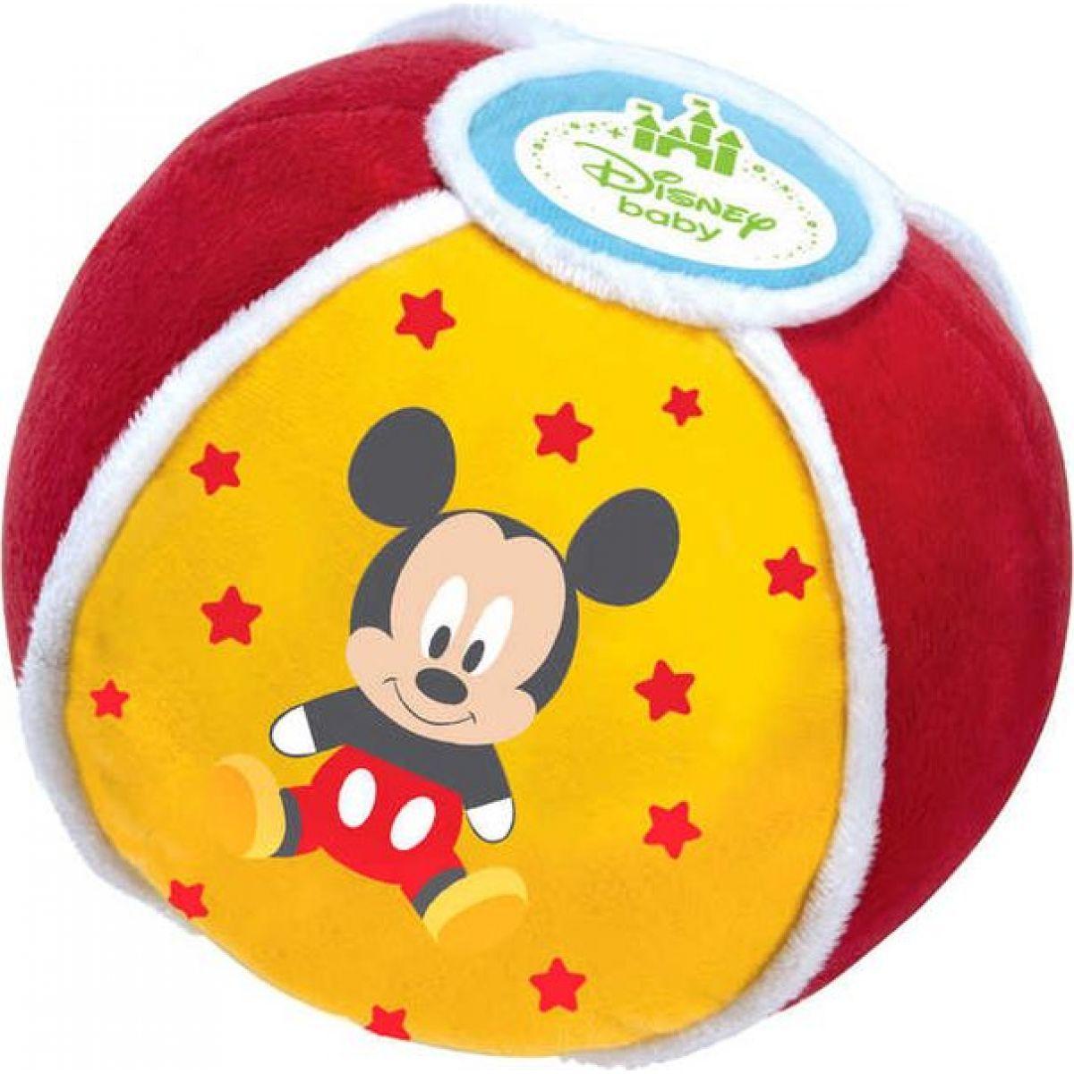 CLEMENTONI Míč baby Mickey Disney měkký textilní na baterie se zvukem