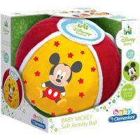 CLEMENTONI Míč baby Mickey Disney měkký textilní na baterie se zvukem 3