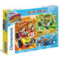 Clementoni Disney Mickey závodník Supercolor 3 x 48 dílků
