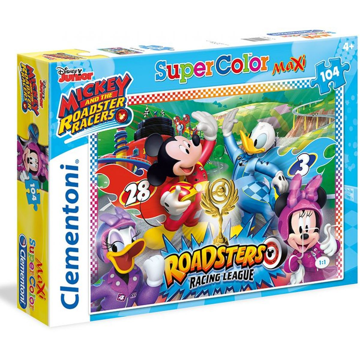 Clementoni Disney Mickey pretekár Supercolor Maxi 104 dielikov