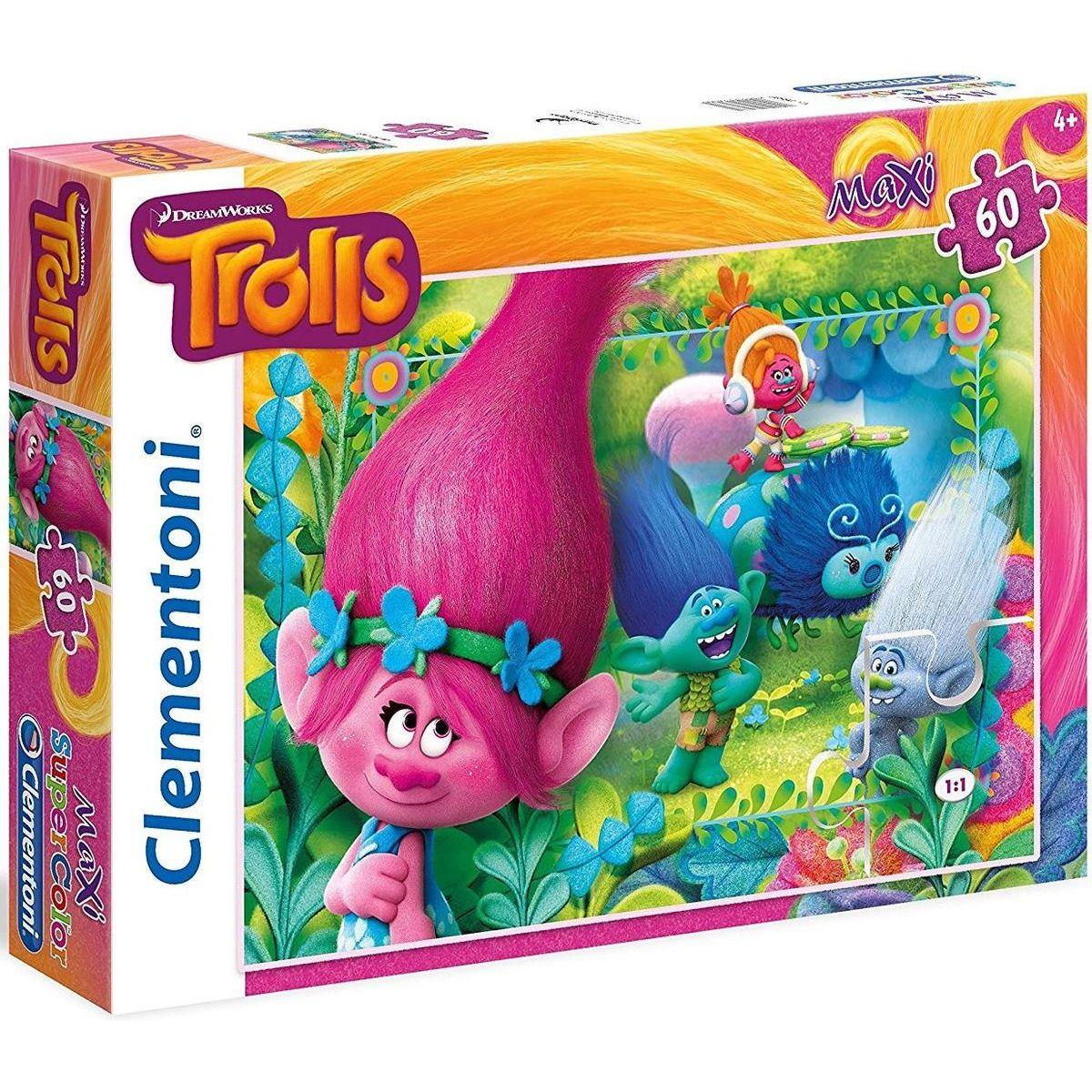 Clementoni Trollovia Puzzle Maxi Supercolor 60 dielikov
