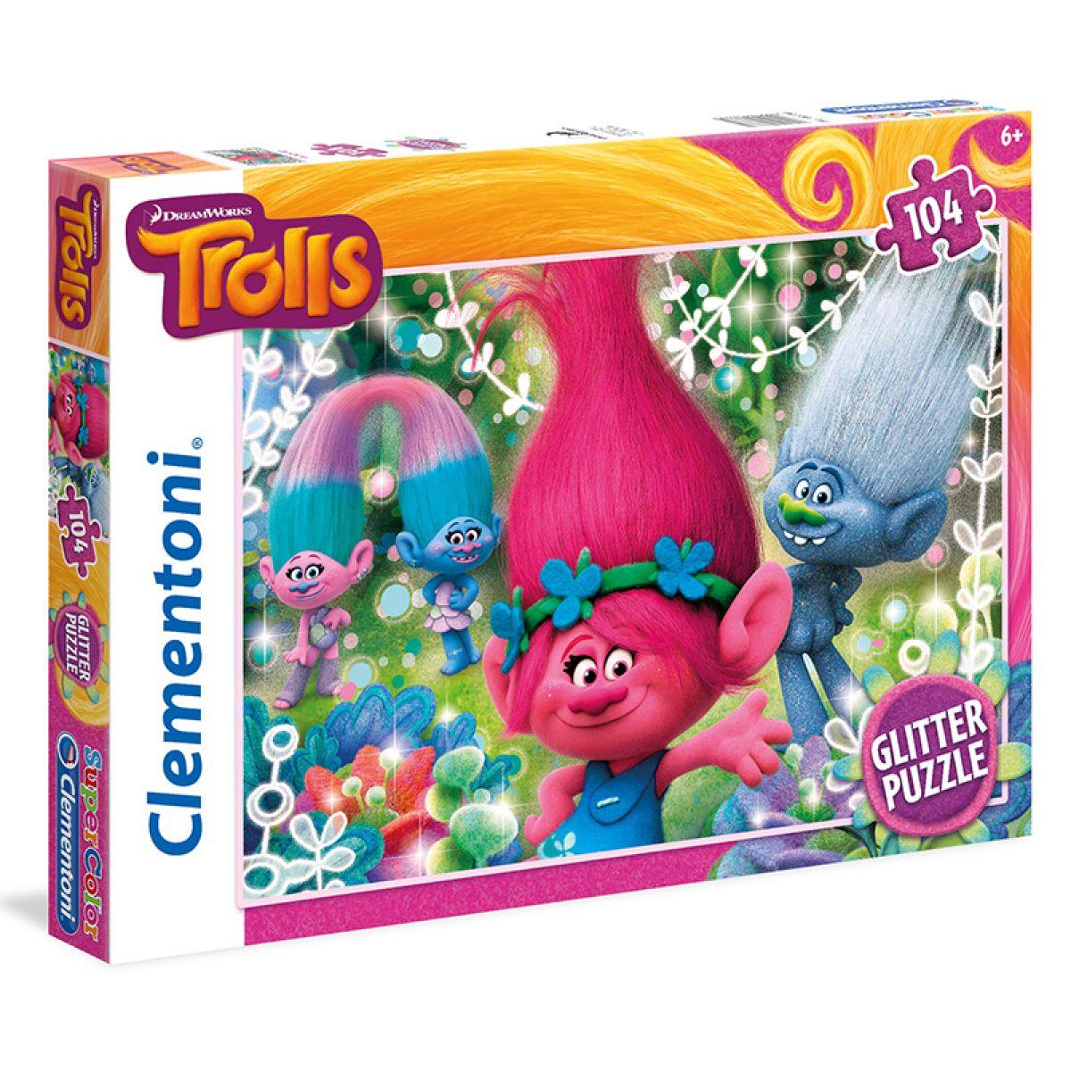 Clementoni Trollovia Supercolor Glitter 104 dielikov