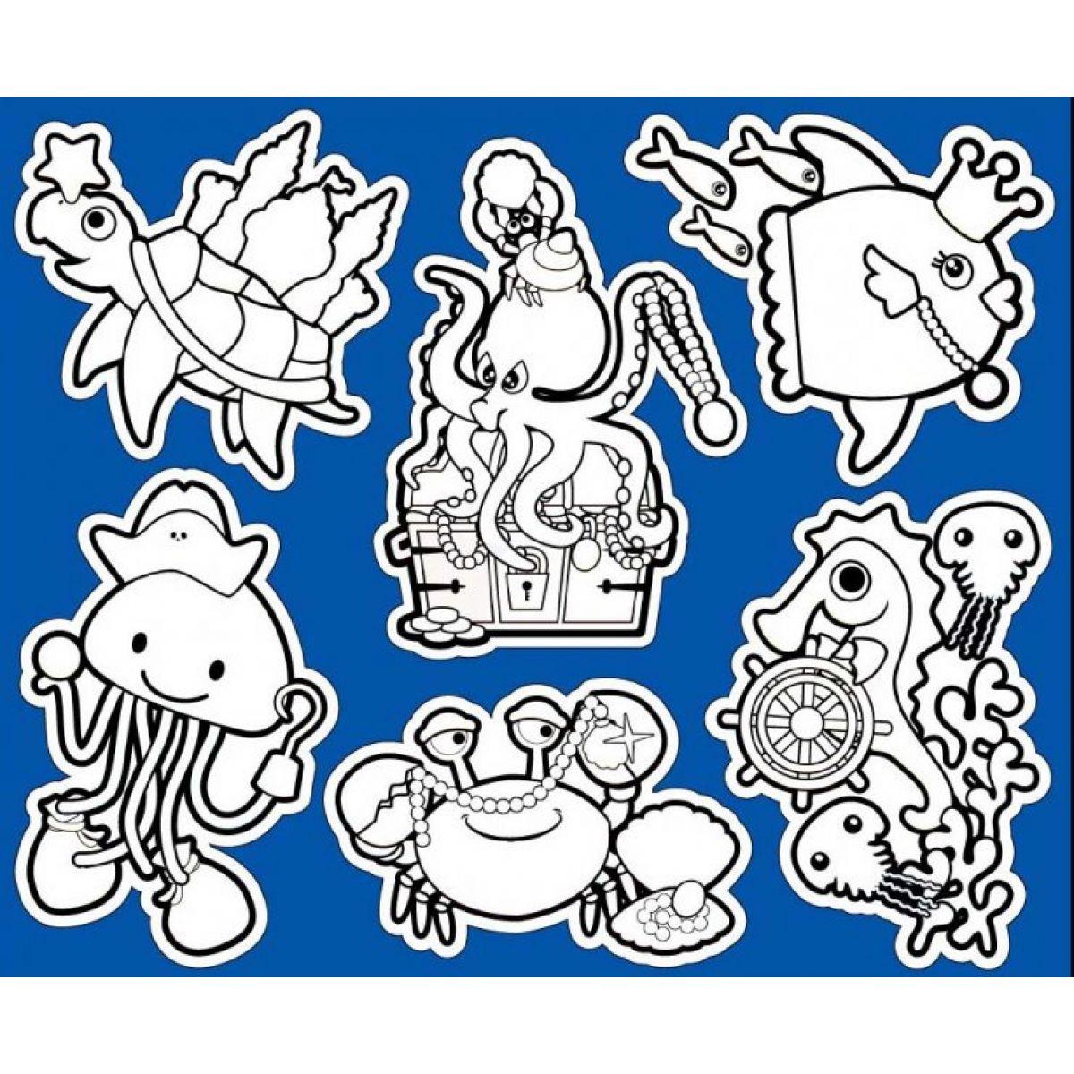 Creatoys Kúpeľňové samolepky 30x25cm korytnačka a chobotnice