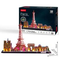 Cubicfun Puzzle 3D Paríž s LED svetlom 115 dielikov