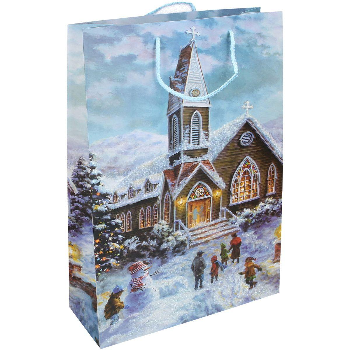 Darčeková taška L 30 x 44 x 12 cm Vianoce kostol