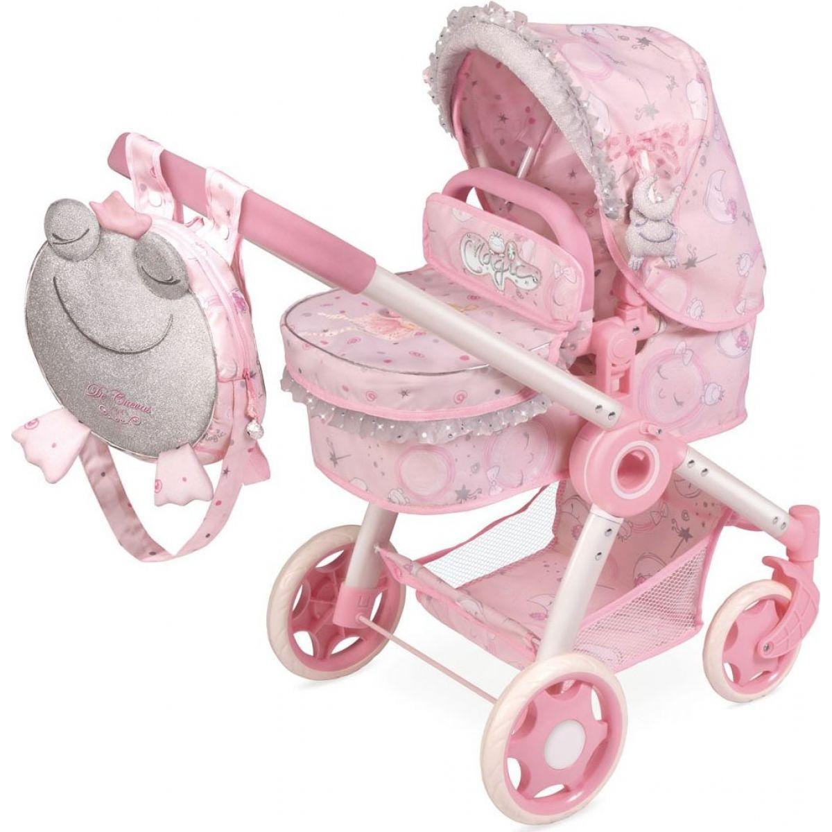 DeCuevas 80534 Skladacia kočík pre bábiky 3 v 1 s batôžkom Magic Maria 2020 - 70 cm