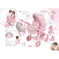 DeCuevas 80534 Skladacia kočík pre bábiky 3 v 1 s batôžkom Magic Maria  2020 - 70 cm 2