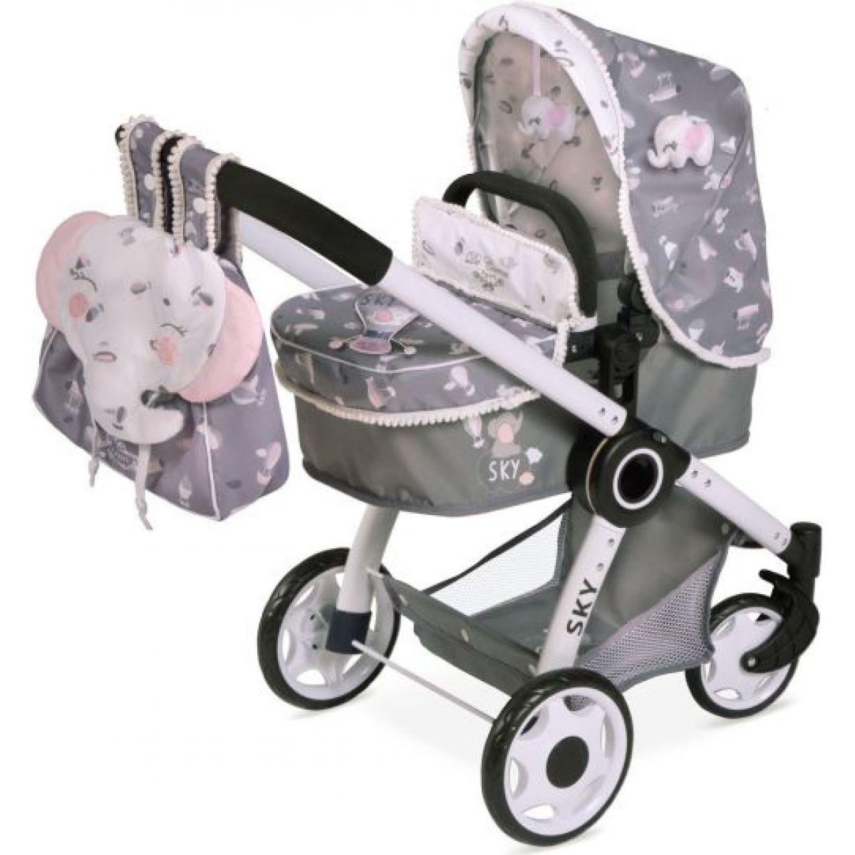DeCuevas 80535 Skladací kočík pre bábiky 3 v 1 s batôžkom SKY 2020 - 70 cm