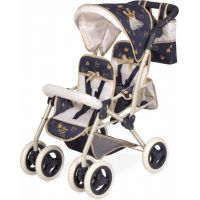 DeCuevas Skladací kočík pre dvojičky bábiky s taškou Classic Gold 2020