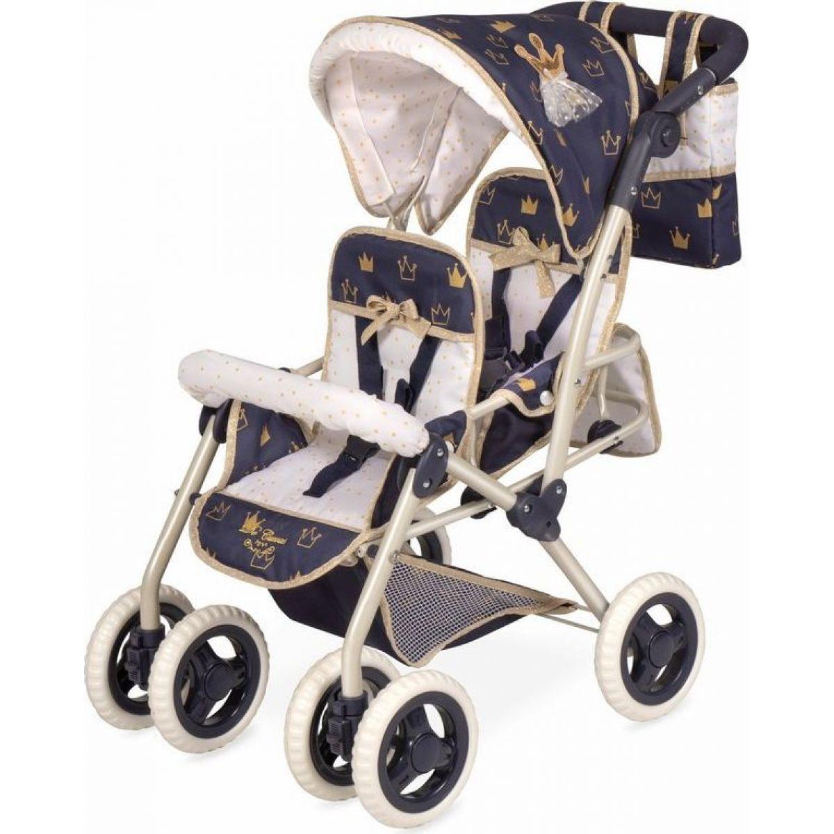 DeCuevas 90332 Skladací kočík pre dvojičky bábiky s taškou Classic Gold 2020 - 72 cm