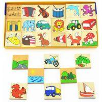 Detoa drevené puzzle Čo kam patrí