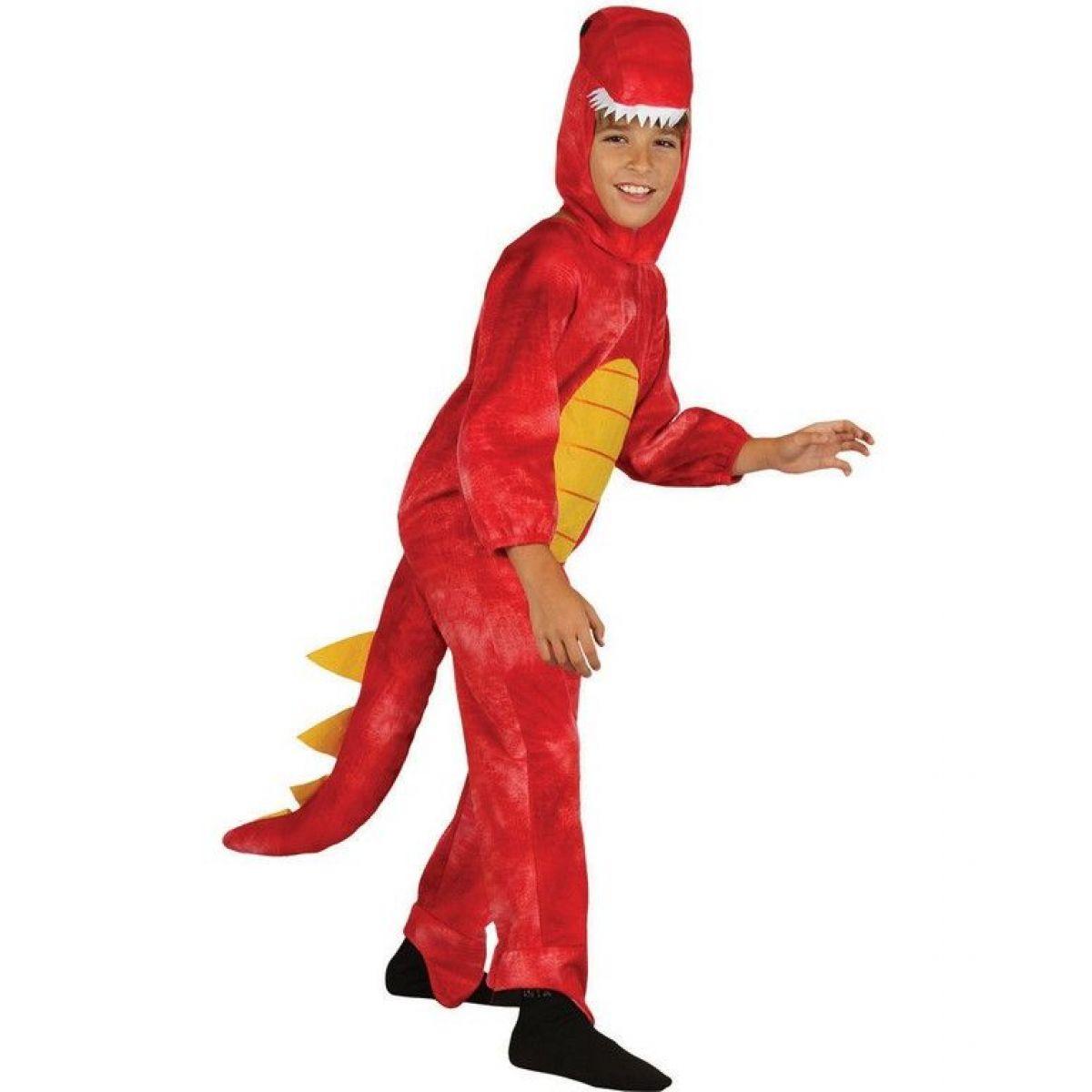 Detský kostým na karneval Dinosaurus červený 120 - 130 cm