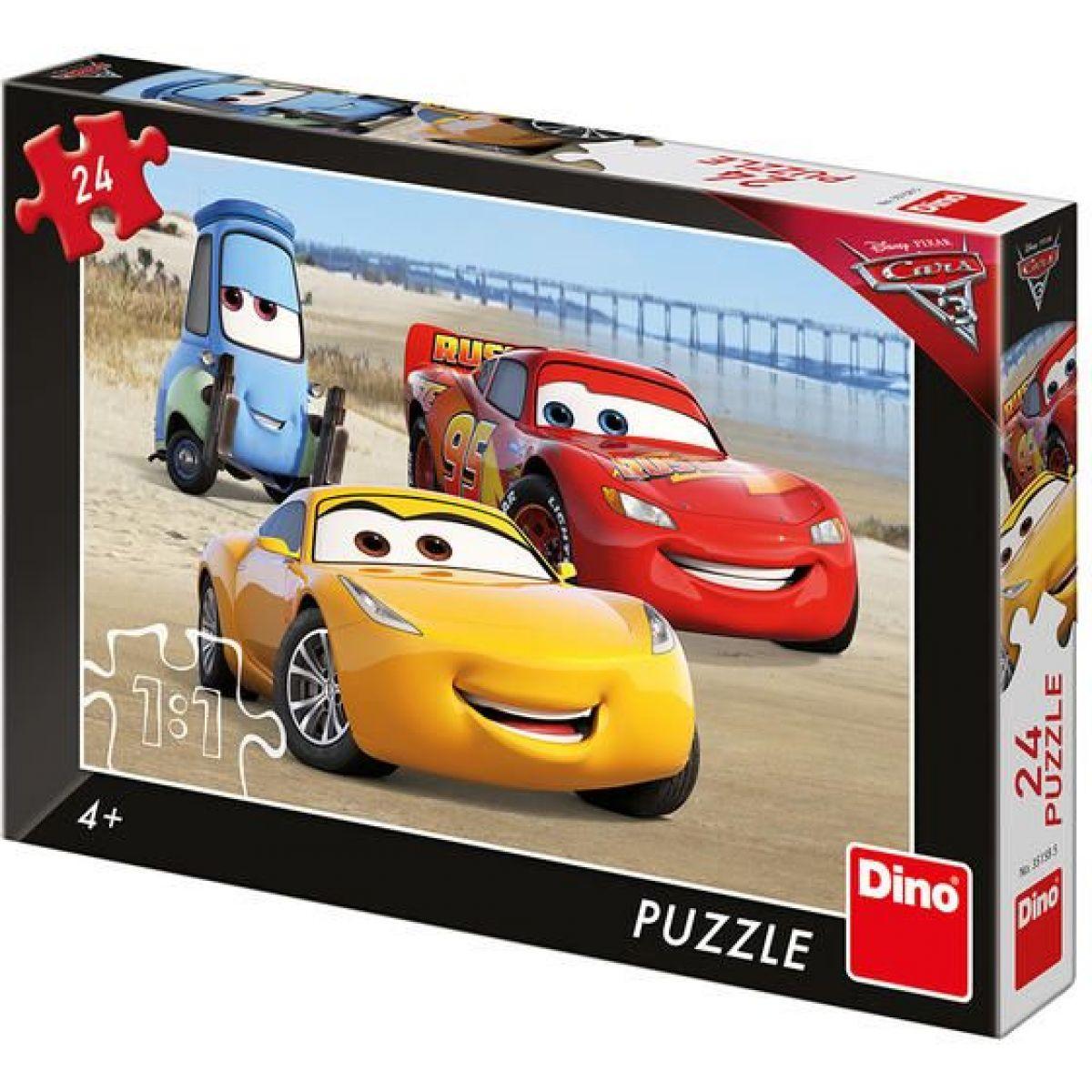 Dino Cars 3 Na pláži puzzle 24 dielikov