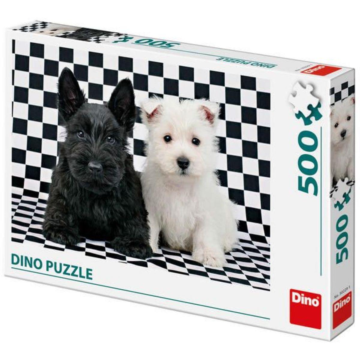 Dino dva pejsci černobílé 47x33cm 500 dílků v krabici 33,5x23x3,5cm