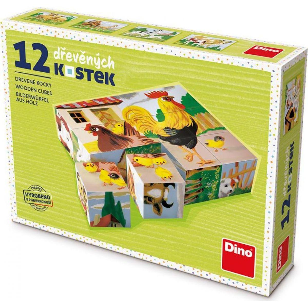Dino Domáce zvieratka 12 dielikov drevené kocky