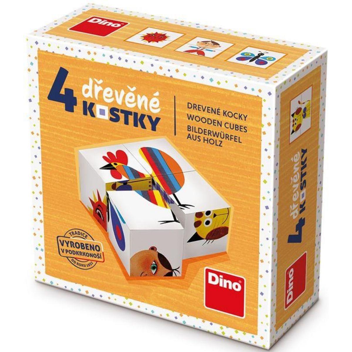 Dino Kohút drevené kocky 4 ks